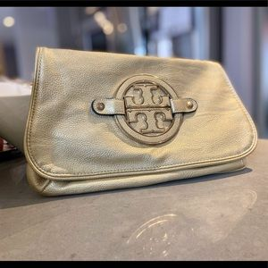 Tory Burch Gold Leather Crossbody Purse / Clutch